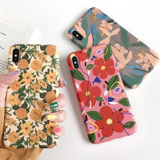 Mobby - Floral Print Mobile Case - iPhone XS Max / XS / XR / X / 8 / 8 Plus / 7 / 7 Plus / 6s / 6s Plus