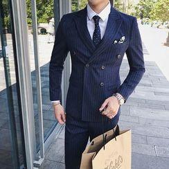 Besto - 套装: 双排扣西装外套 + 马甲 + 西裤