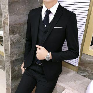 Besto - Set: Single-Button Blazer + Vest + Dress Pants