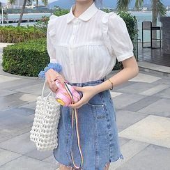 Gray House - Ruffled Collared Puff-Sleeve Blouse