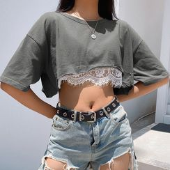 Puffie - Short-Sleeved Lace-Trimmed Cropped T-Shirt