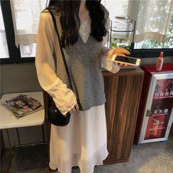 Moon City - Knit Vest / Long-Sleeve Lace Trim Midi A-Line Dress