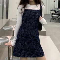 Dute(デュート) - Long-Sleeve Plain T-Shirt / Flower Print Mini Denim Overall Dress