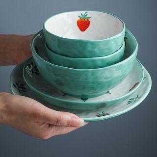 Chrysalis(クリサリス) - Strawberry Print Ceramic Bowl  / Plate / Stew Pot