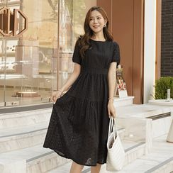 CLICK(クリック) - Puff-Sleeve Tiered Long Lace Dress