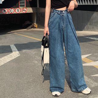 BBChic - Plain Short-Sleeve Crop Top / High-Waist Wide-Leg Jeans