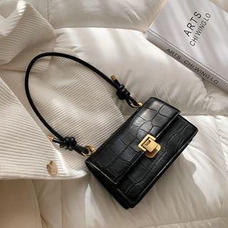 Cesky - Croc Grain Faux Leather Shoulder Bag
