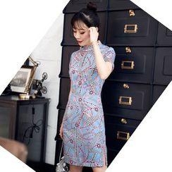欧依潮派 - 印花短袖旗袍