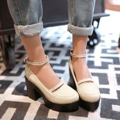 Shoes Galore - Ankle Strap Block Heel Loafers