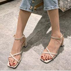 安若 - 粗跟蝴蝶结凉鞋