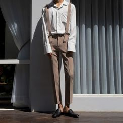 MRCYC - Cropped Straight Leg Suspender Dress Pants