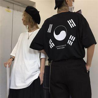 MELLO(メロ) - ペア柄五分袖プリントTシャツ