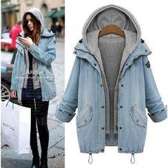 Hilsah - Set: Hooded Vest + Buttoned Denim Jacket