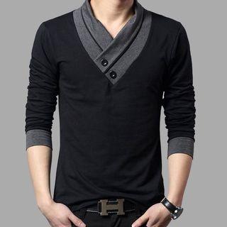 Kieran - Long-Sleeve Wrap Collar T-Shirt