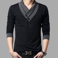Kieran - 长袖裹式领 T 恤