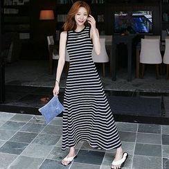 santrani - Striped Sleeveless Tank Top Dress