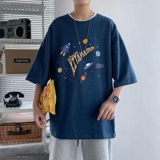 Cowpow - Elbow-Sleeve Print T-Shirt