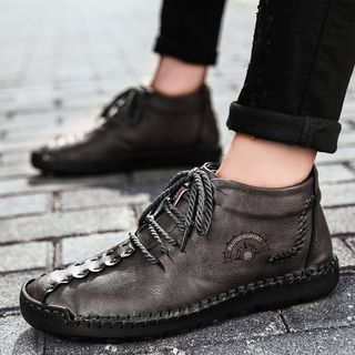 Auxen - Stitched Trim Fleece-Lined Faux Leather Lace-Up Ankle Boots
