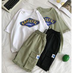 Mudian - Printed Short-Sleeve T-Shirt / Drawstring Shorts / Set