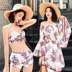 Jumei - Set: Printed Bikini + Off-Shoulder Cover-Up