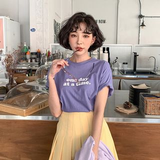 MERONGSHOP - Letter-Printed Loose-Fit T-Shirt