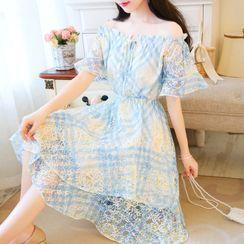 Petit Lace - Off-Shoulder Argyle Print Midi Lace Dress
