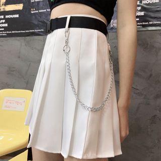 DiBi - High-Waist Mini A-Line Pleated Skirt with Belt