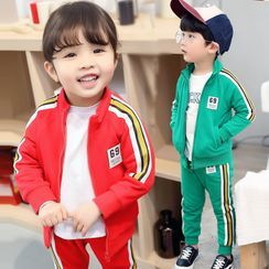 PAM - Set: Kids Stand-Collar Striped Trim Jacket + Sweatpants