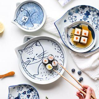 Kawa Simaya - Assiette en céramique avec motif chat (différents modèles)