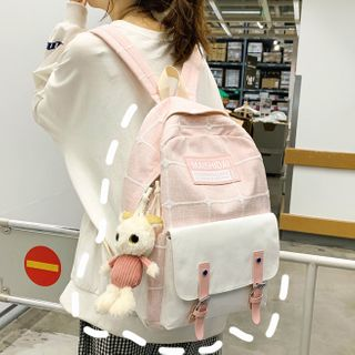 Miss REI - Cartoon Charm Buckled Plaid Backpack