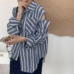 Serendipitous(セレンディピタス) - Striped Shirt / Denim Mini A-Line Overall Dress