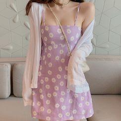 Heartsily(ハートシリー) - Spaghetti Strap Floral Print Mini A-Line Dress / Cardigan