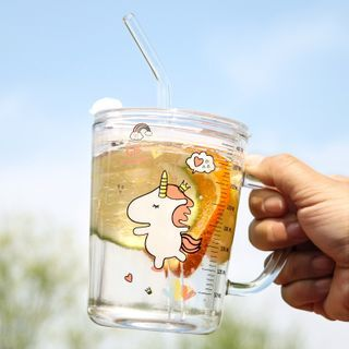 Cuplet - Unicorn Print Glass Drinking Bottle with Straw