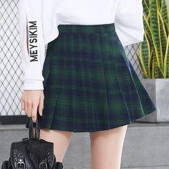 Carina - Plaid Pleated Skirt