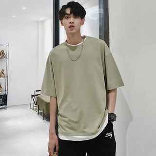 Tonni's - Mock Two-Piece Elbow-Sleeve T-Shirt