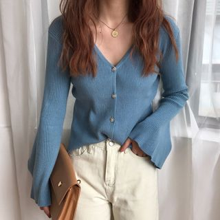 Dute - Bell-Sleeve Ribbed Cardigan