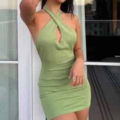 Gryffen - 纯色挂脖镂空贴身迷你连衣裙