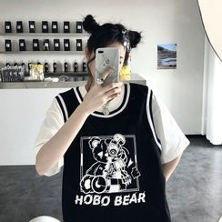 Giuliana - Short-Sleeve Mock Two-Piece Bear Print T-Shirt