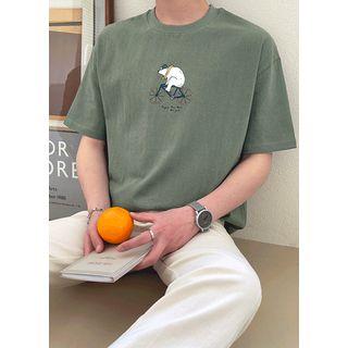 JOGUNSHOP - Bear Print Cotton T-Shirt
