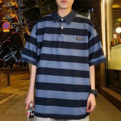 DuckleBeam - Polo Collar Striped Short-Sleeved Top