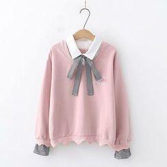 PANDAGO - 刺繡格子拼接套衫 / 水手領套衫