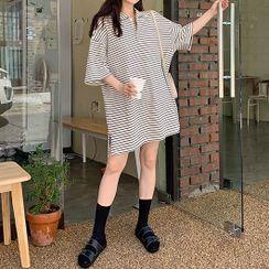 Leoom - Elbow-Sleeve Striped Mini Polo Shirtdress