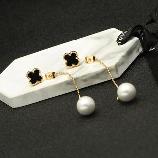 Zirajoy - 925 Sterling Faux Pearl Clover Dangle Earring