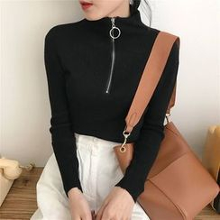 Vinales - Half-Zip Ribbed Long-Sleeve Top