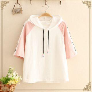 Kawaii Fairyland - Color-Block Hooded Short-Sleeve Top