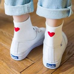Kaffi - Socken mit Herzchen bedruckt