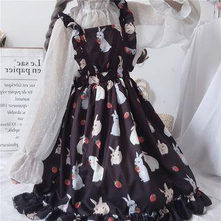 Pachelbel - 小高领圆点衬衫 / 无袖小兔印花A字萝莉连衣裙