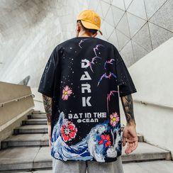 UIXX - 潑墨印花短袖T恤