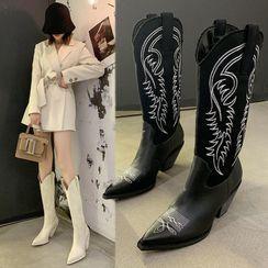 Vindler - 布藝尖頭粗跟高身靴