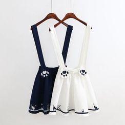 Kawaii Fairyland - Cat Paw Embroidered Strap Jumper Skirt